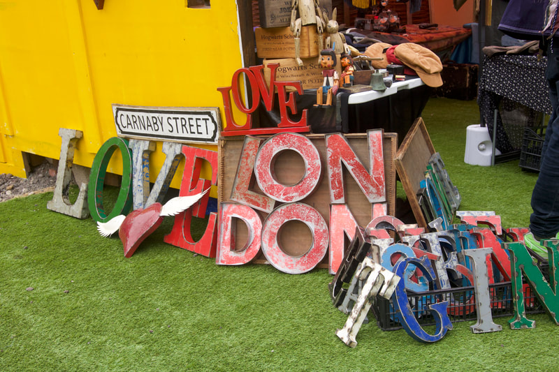Vintage steel sign letters from  regular Flea trader Jeremy on display at  Vinegar Yard