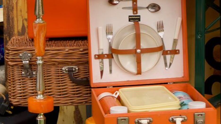Vintage picnic set on market stall at Flea London