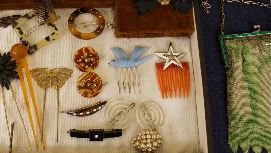 Display of vintage jewellery and hair accessories on stall at Flea London